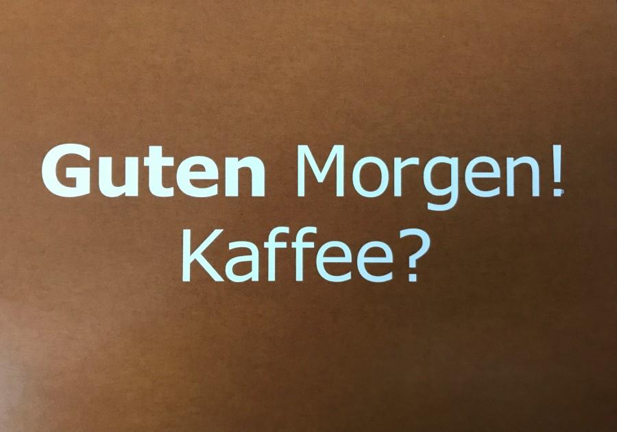 Guten Morgen Kaffee Eine Erwachsene Frau